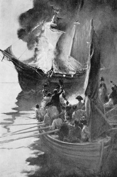 Brandywine Wall Art - Photograph - Burning Of The Gaspee, Illustration From Colonies And Nation By Woodrow Wilson, Pub. In Harpers by Howard Pyle