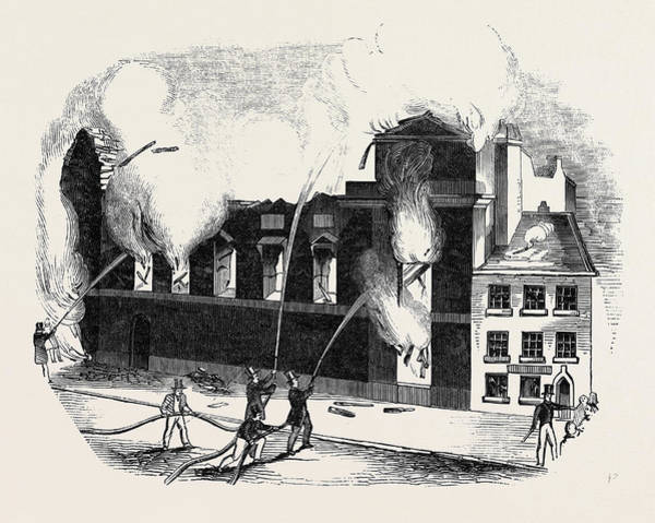 Manchester Drawing - Burning Of The Manchester Theatre Royal by English School