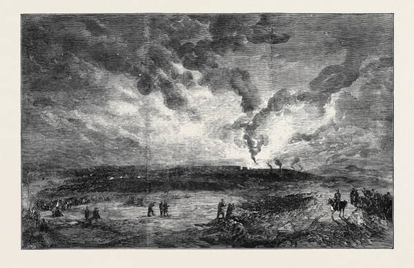 Ukraine Drawing - Burning Of The Santa Maria Frigate In Sebastopol Harbour by Crowe, Sir Joseph Archer (1825-1896), English