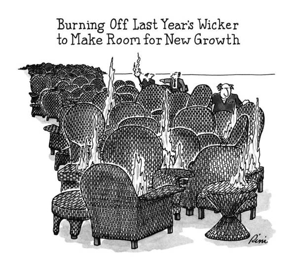 Growth Drawing - Burning Off Last Year's Wicker To Make Room by J.P. Rini