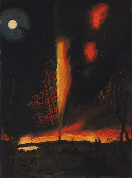 Oil Well Painting - Burning Oil Well At Night Near Rouseville Pennsylvania by James Hamilton