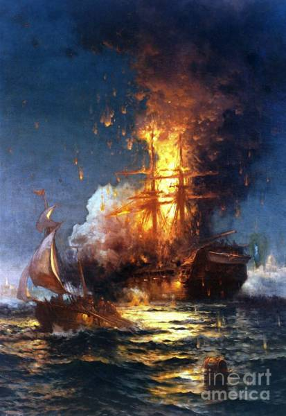 Reproductions Wall Art - Painting - Burning The Uss Philadelphia by Pg Reproductions