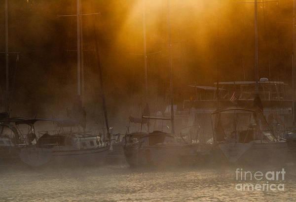 Houseboat Photograph - Burning Through The Fog by Douglas Stucky