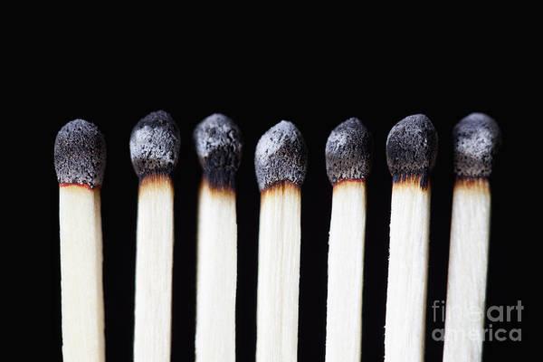 Photograph - Burnt Matches On Black by Bryan Mullennix