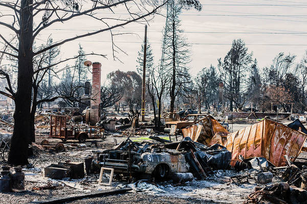 Wall Art - Photograph - Burnt Remains From Tubbs Fire, Santa by Ron Koeberer