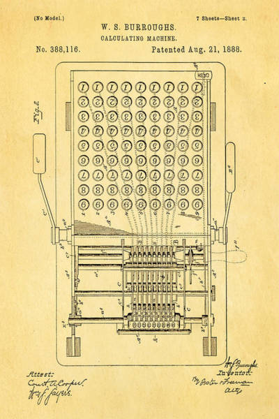 1888 Photograph - Burroughs Calculating Machine Patent Art 1888 by Ian Monk