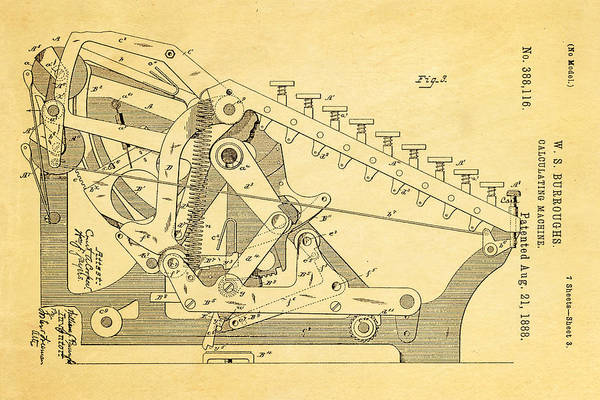 1888 Photograph - Burroughs Calculating Machine Patent Art 2 1888 by Ian Monk
