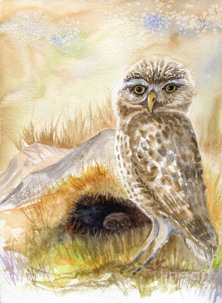 Smith Rock Painting - Burrowing Owls by Marilyn Smith