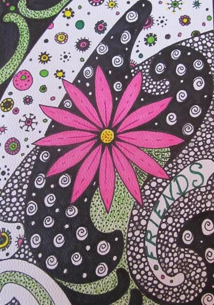 Tangle Painting - Burst Of Pink Zen Tangle by Sharon Duguay
