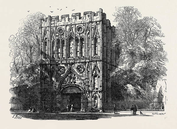 Bury St Edmunds Drawing - Bury St. Edmunds The Abbey Gate 1867 by English School