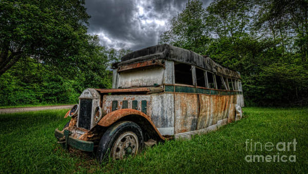 Urban Decay Wall Art - Photograph - Bus Decay 16 By 9  by Michael Ver Sprill