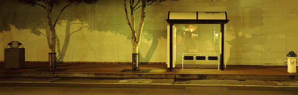 Stop Light Photograph - Bus Stop At Night, San Francisco by Panoramic Images