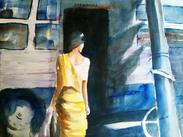 Wall Art - Painting - Bus Stop - Woman Boarding The Bus by Carlin Blahnik CarlinArtWatercolor