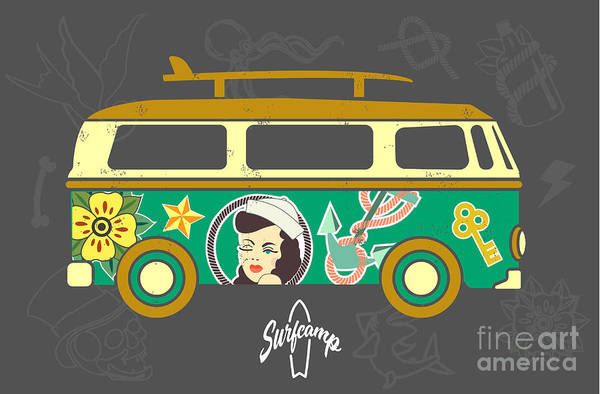 California Beaches Digital Art - Bus With Surfboard by Naches