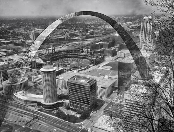 Wall Art - Photograph - Busch Stadium Bw A View From The Arch Merged Image by Thomas Woolworth