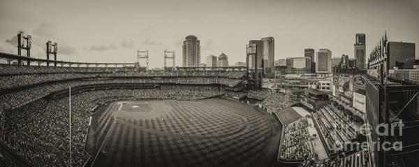 Photograph - Busch Stadium Cardinals Sepia by David Haskett II