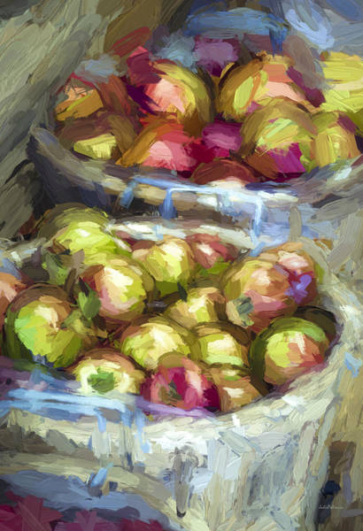 Impasto Photograph - Bushels Of Apples Digital Painting by Julie Palencia