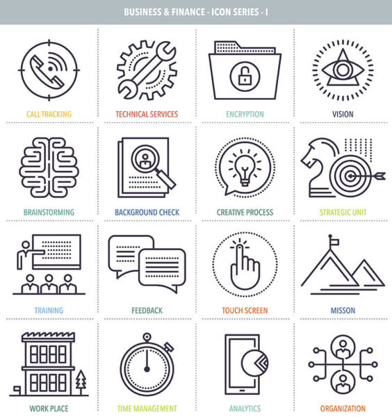Business And Finance Icon Set Art Print by Ilyast