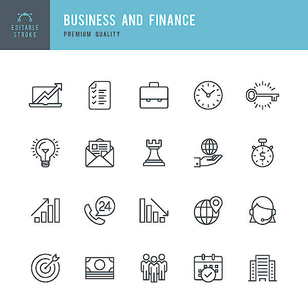 Business And Finance  - Thin Line Icon Set Art Print by Fonikum