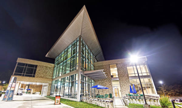 University Of West Florida Photograph - Business Building At Night by Jon Cody