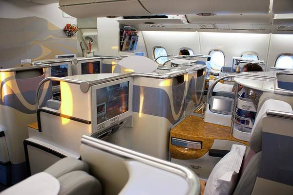 Airbus A380 Wall Art - Photograph - Business Class Seating On Airbus A380 by Mark Williamson/science Photo Library