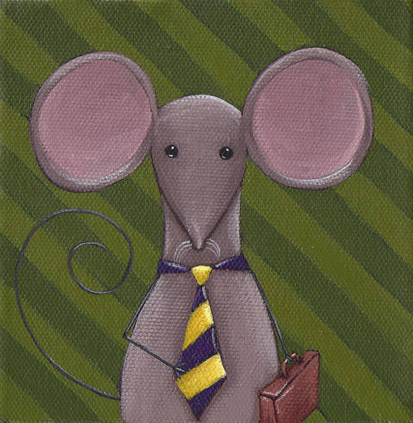 Mouse Painting - Business Mouse by Christy Beckwith