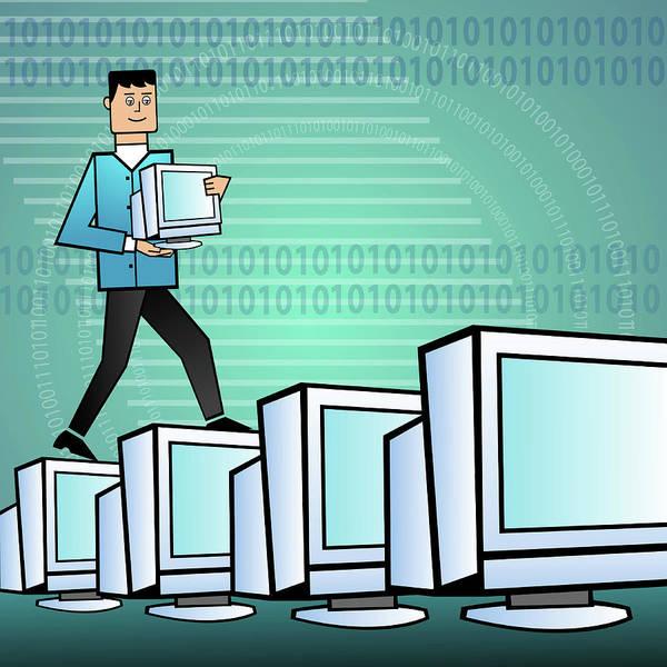Businessman Arranging Computers Art Print