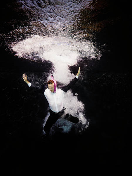 Suit Photograph - Businessman In Suit Plunging Into Water by Thomas Barwick