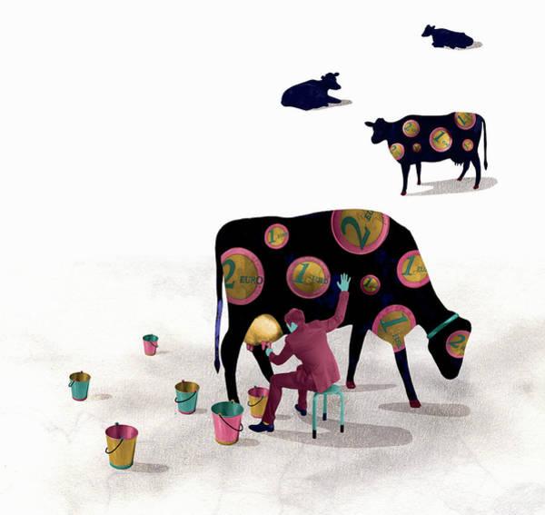 Men Digital Art - Businessman Milking Cash Cow Covered In by Pw Illustration