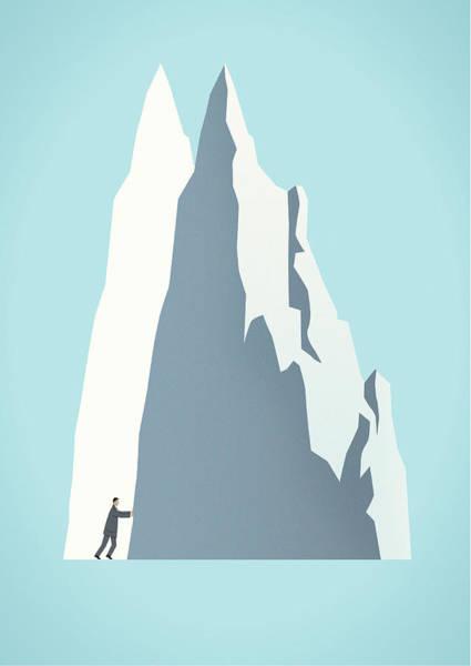 Men Digital Art - Businessman Moving Mountain by Mark Airs