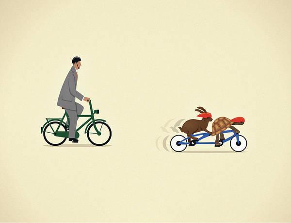 Men Digital Art - Businessman On Bicycle Behind Tortoise by Mark Airs