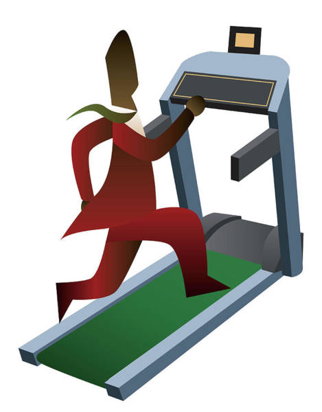 Physical Training Wall Art - Photograph - Businessman Running On A Treadmill by Fanatic Studio / Science Photo Library