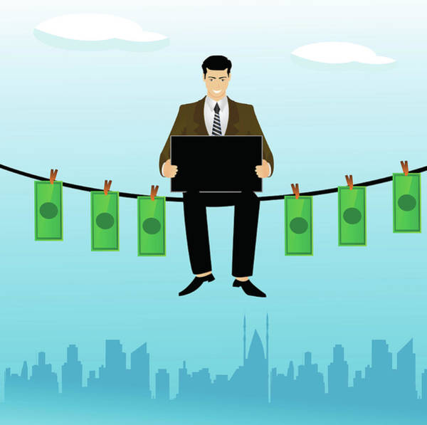 Clothesline Photograph - Businessman Sitting On A Clothesline by Fanatic Studio / Science Photo Library
