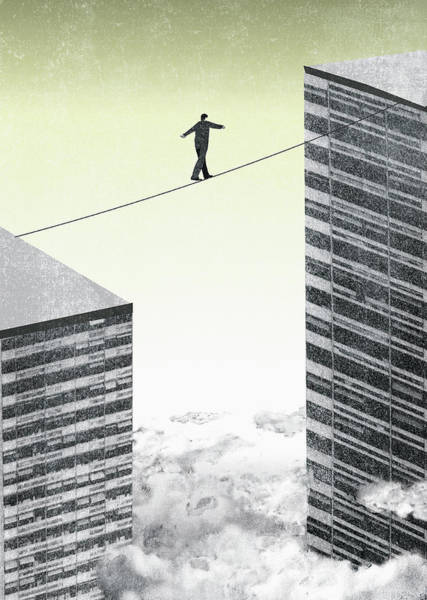 Wall Art - Photograph - Businessman Walking Tightrope by Ikon Images