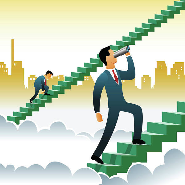 Ladders Photograph - Businessmen Climbing Up Steps Over The Clouds by Fanatic Studio / Science Photo Library