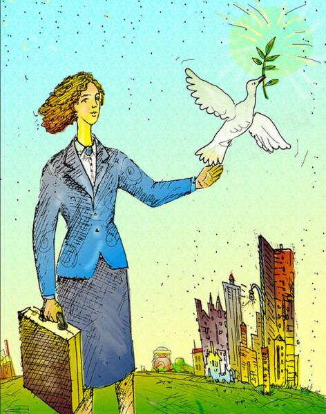 Businesswoman & Dove Art Print by Vasily Kafanov