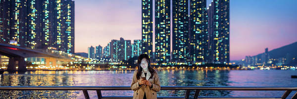 Businesswoman Photograph - Businesswoman Using Smartphone In City by D3sign