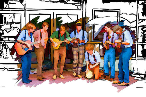 Asheville Mixed Media - Busker Band by John Haldane