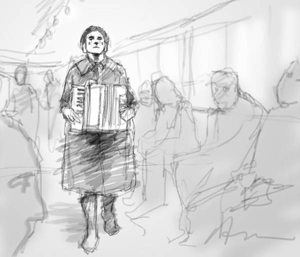 Busker Wall Art - Digital Art - Busker On The Tram by H James Hoff