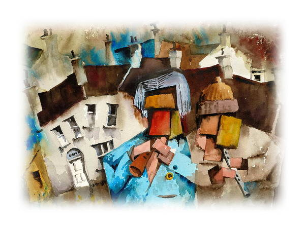 Painting - Buskers by Val Byrne
