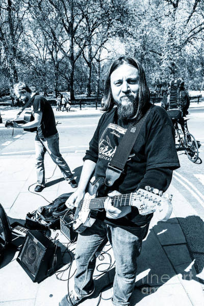 Photograph - Busking Musicians With Electric Guitars At Hyde Park Corner Lon by Peter Noyce