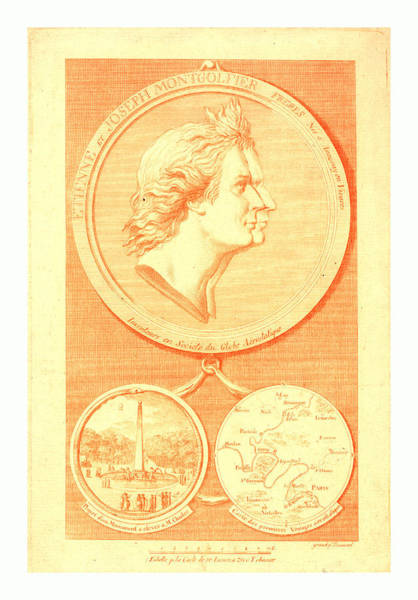 Gold Medal Drawing - Bust-length Double Profile Of The Montgolfier Brothers by English School