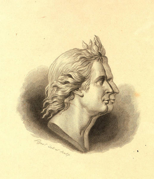 Gold Medal Drawing - Bust-length Double Profile Portrait Of The Montgolfier by Litz Collection
