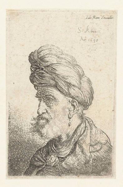 Wall Art - Drawing - Bust Of A Man With Turban, Salomon Koninck by Salomon Koninck