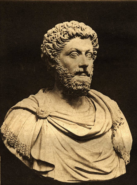 Wall Art - Photograph - Bust Of Marcus Aurelius 121-80 Ad Marble by English Photographer