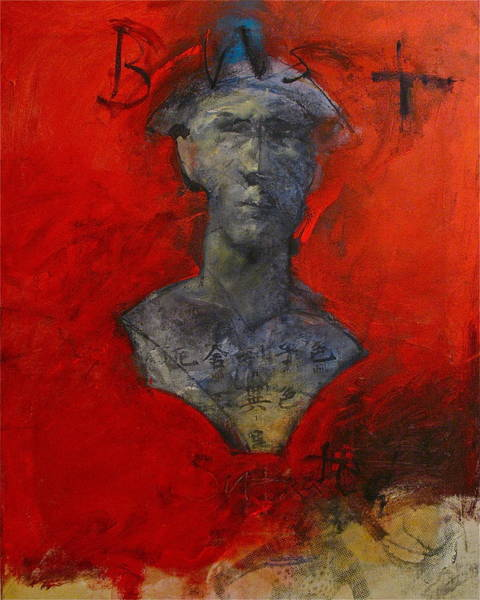Painting - Bust Ted - With Sawdust And Tinsel  by Cliff Spohn