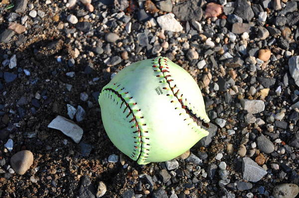 Softball Photograph - Busted Stitches by Bill Cannon
