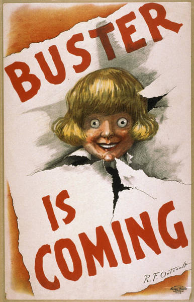 Vintage Poster Wall Art - Drawing - Buster Is Coming by Aged Pixel