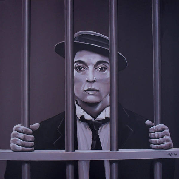 Sad Painting - Buster Keaton Painting by Paul Meijering