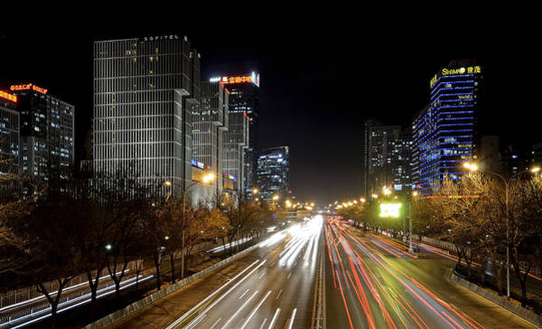 Changan Photograph - Busy Beijing - Central Business District By Night by Brendan Reals